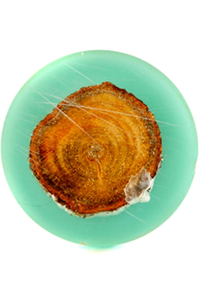 Round Teal Resin Timber Doorknob