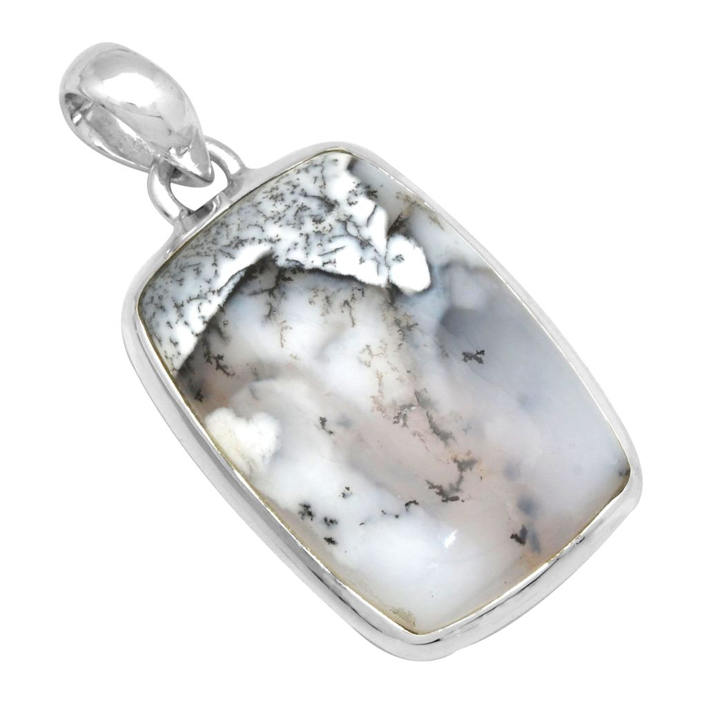 Rounded dendritic agate pendant silver jewellery ishka rounded dendritic agate pendant aloadofball Choice Image