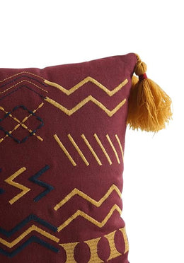 Rust Embroidered Tribal Cushion