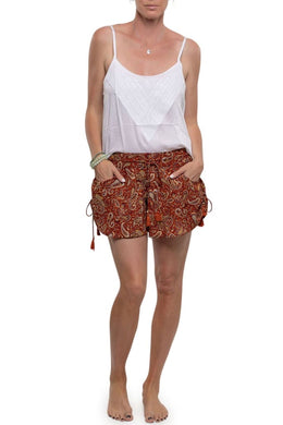 Rust Red Paisley Shorts