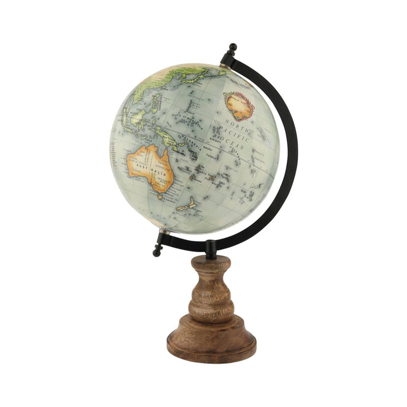 Sage Green Globe With Wooden Base