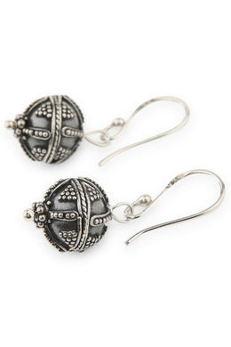 Silver Beaded Ball Earrings