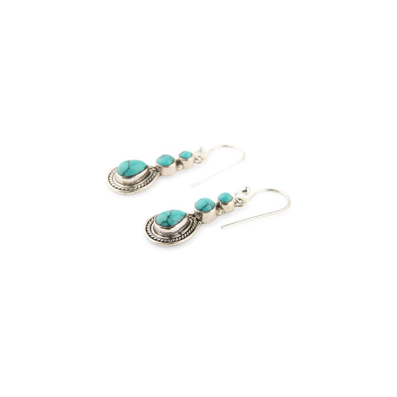 Silver Braided Turquoise Earrings