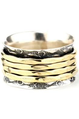 Silver Brass Pattern Spinning Ring