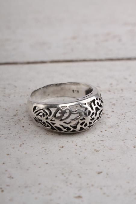Silver Cut Work Ring