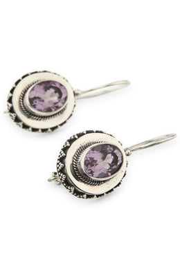 Silver Platform Amethyst Earrings