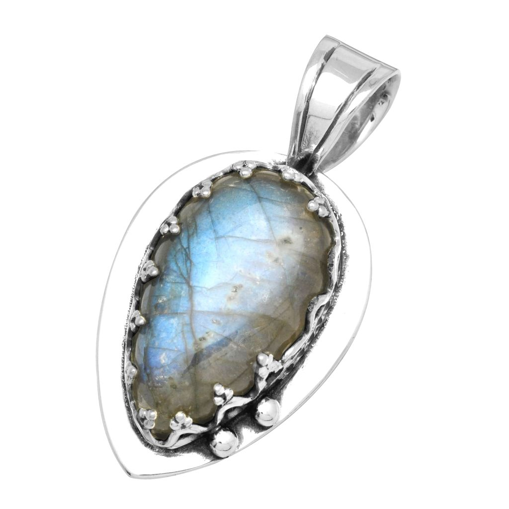 pendant silver gemstone labradorite quick fire a jewelry wholesale blue unique view