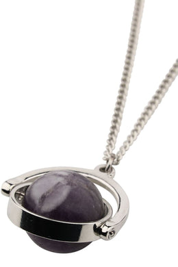 Silver Spinning Amethyst Necklace