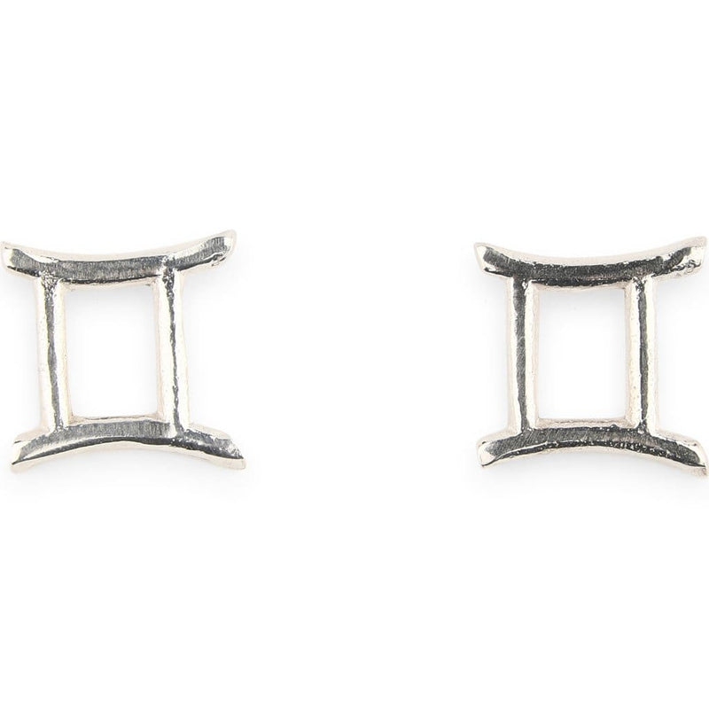 Silver Zodiac Stud Earrings - Gemini