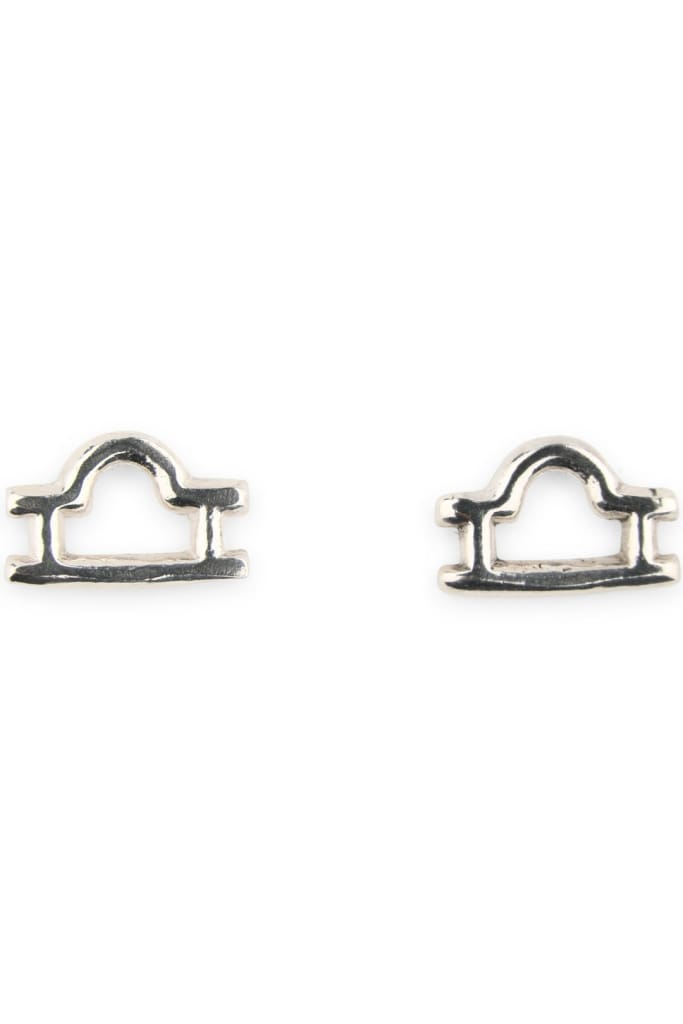 Silver Zodiac Stud Earrings - Libra