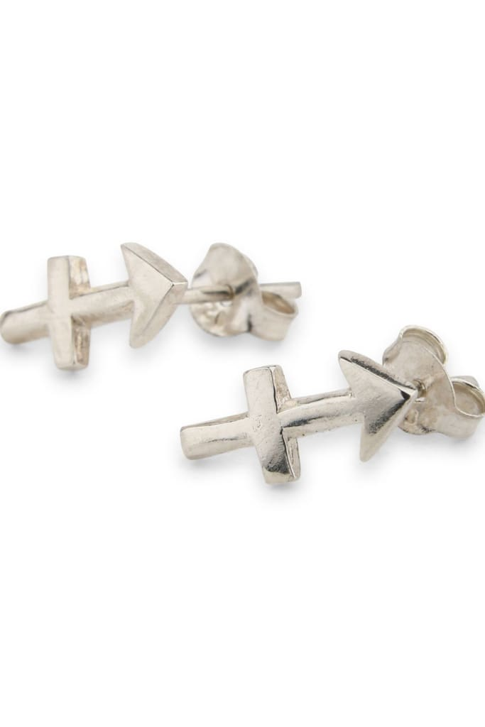 Silver Zodiac Stud Earrings - Sagittarius