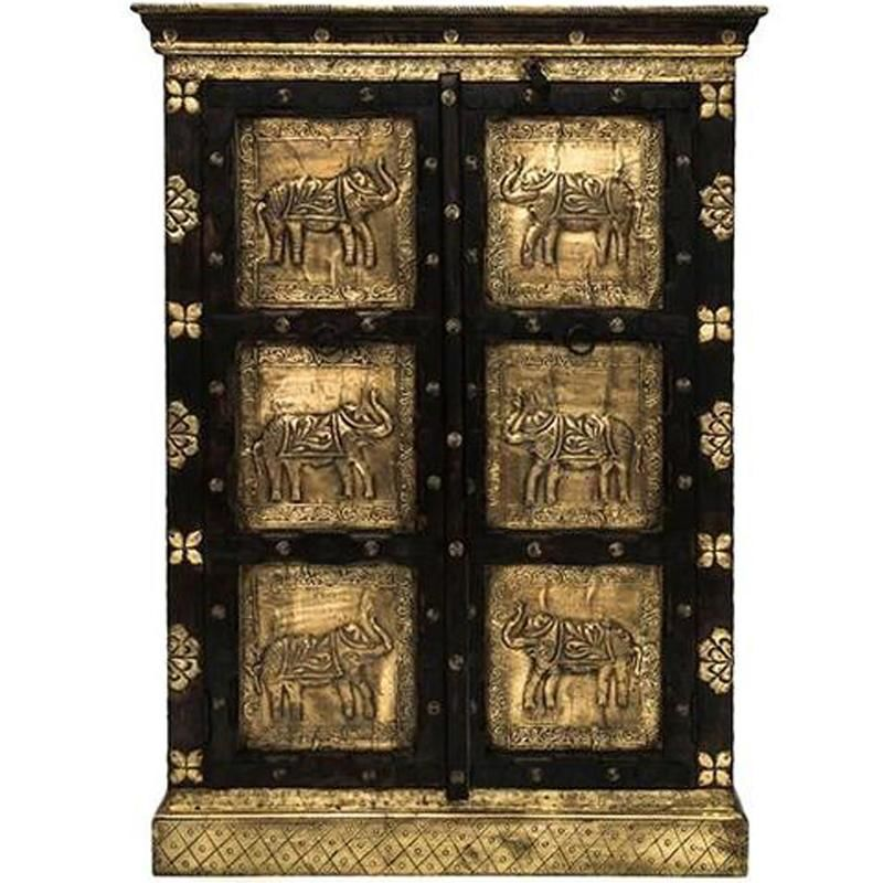 Small Brass Elephant Cabinet
