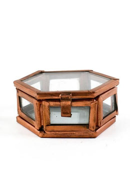 Small Copper Hexagon Glass Box