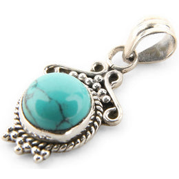 Small Ornate Turquoise Pendant