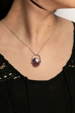 Spinning Gemstone Silver Necklace