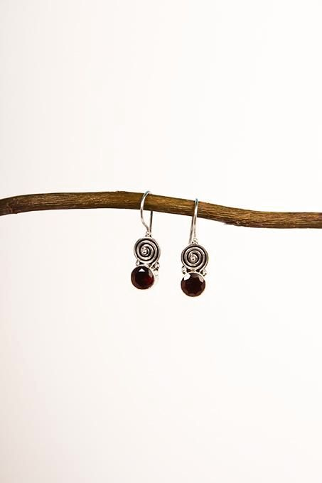 Spiral Garnet Earrings