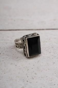 Square Cut Onyx Ring