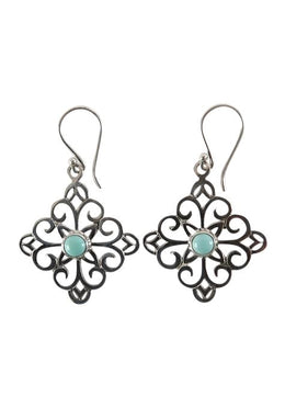 Square Filigree Turquoise Earrings