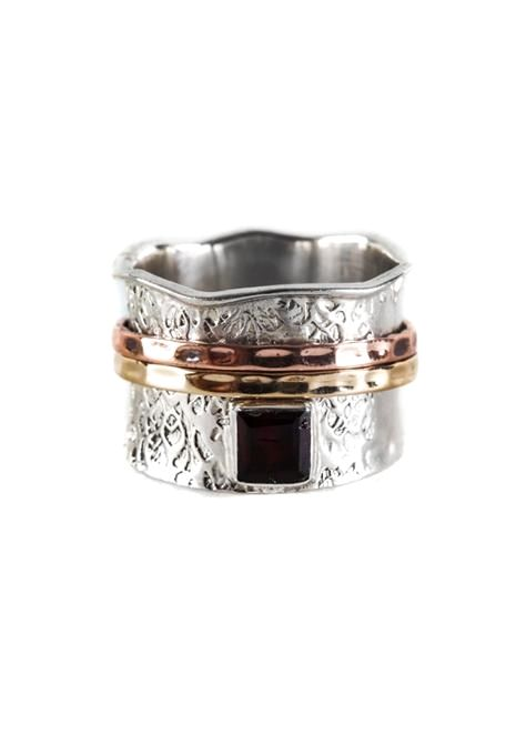 Square Garnet Spinning Ring