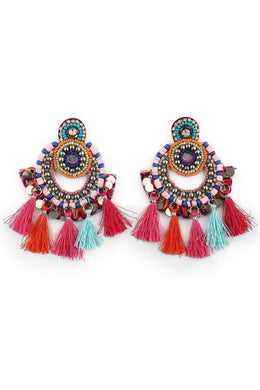 Statement Multicolour Tassel Earrings