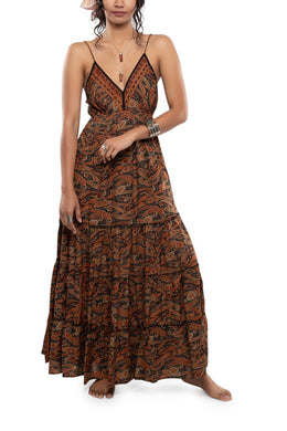 Strappy Paisley Print Maxi Dress