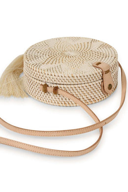 Straw Roundie Bag With Tassel