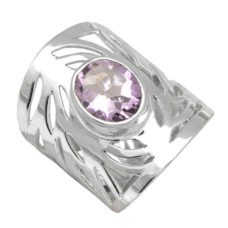 Swirling Band Amethyst Ring