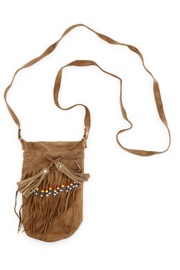 Tassel & Beads Suede Pouch Necklace