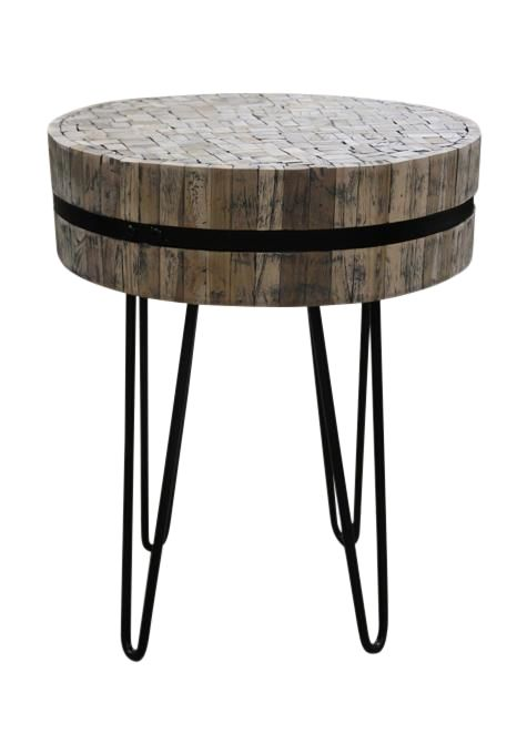 Teak & Iron Side Table
