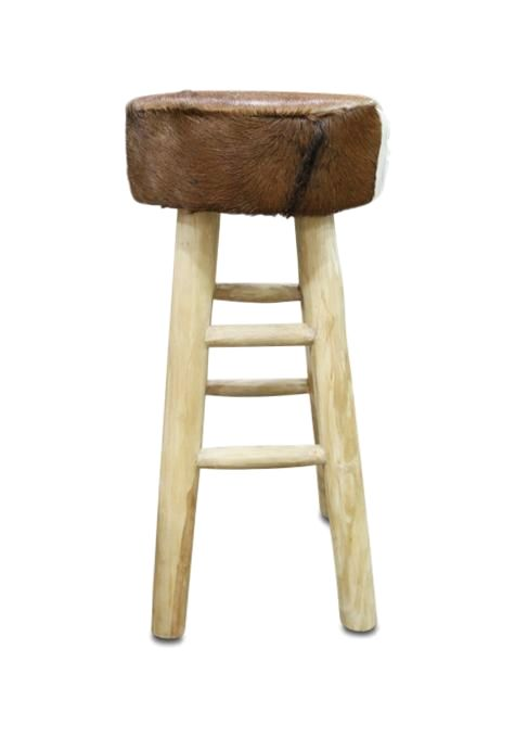 Teak & Leather Stool