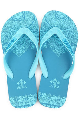 Teal Mandala Print Thongs