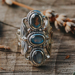 Three Stone Labradorite Ring