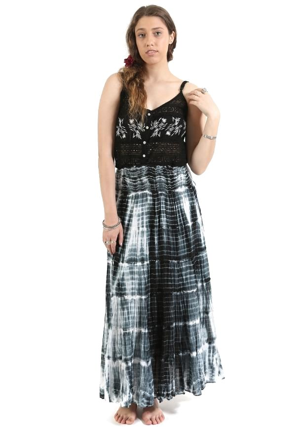 Tie Dye Tiered Maxi Skirt | Tuggl