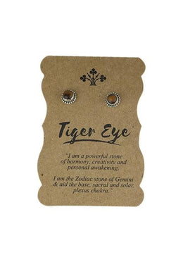 Tiger Eye Silver Beaded Studs