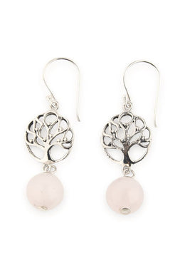 Tree Of Life Rose Quartz Droplet Earrings