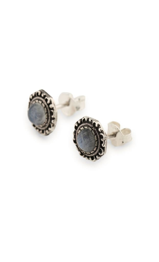 Tribal Cased Dainty Stud Silver Earrings