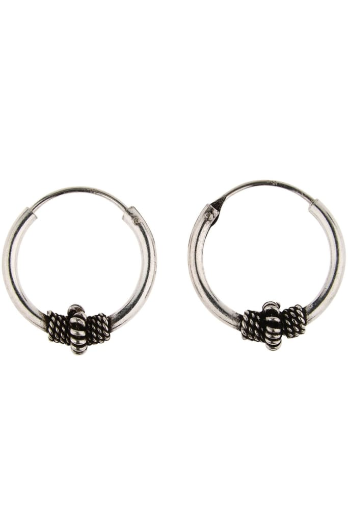 Tribal Detail Silver Hoop Earrings