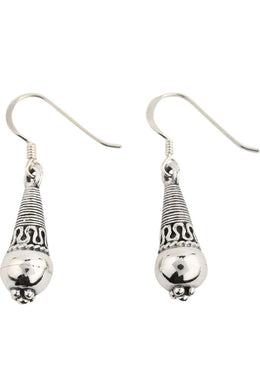 Tribal Droplet Silver Earrings
