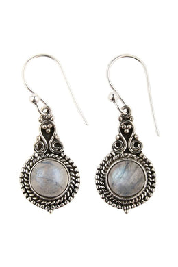 Tribal Setting Droplet Moonstone Silver Earrings