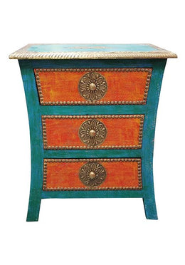 Turquoise Brass Fitted Bedside Cabinet