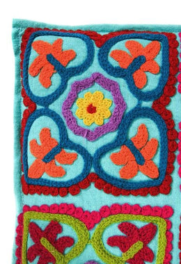 Turquoise Embroidered Heart Heat Pillow