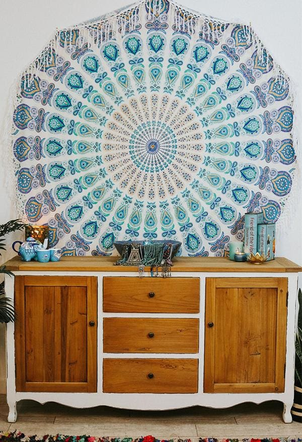 Turquoise Mandala Round Throw