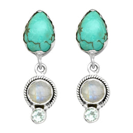 Turquoise Moonstone Topaz Earrings