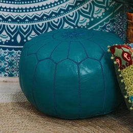 Turquoise Moroccan Leather Ottoman