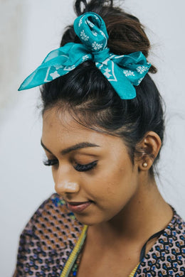 Turquoise Print Silk Tie Head Scarf