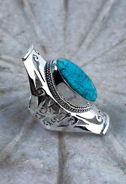 Turquoise Square Jali Ring