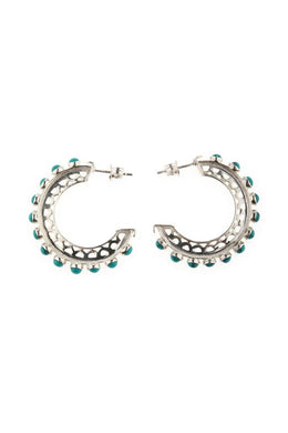 Turquoise Stone Hoop Silver Earrings