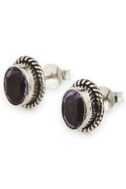 Twisted Silver Amethyst Earrings