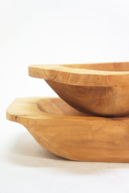Set of 2 Sammie Carved Wood Bowls