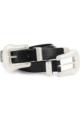 Western Double Buckle Leather Belt